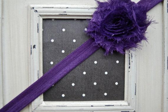 "SALE 5 Yards Dark Purple Shiny Elastic FOE - 5/8"""