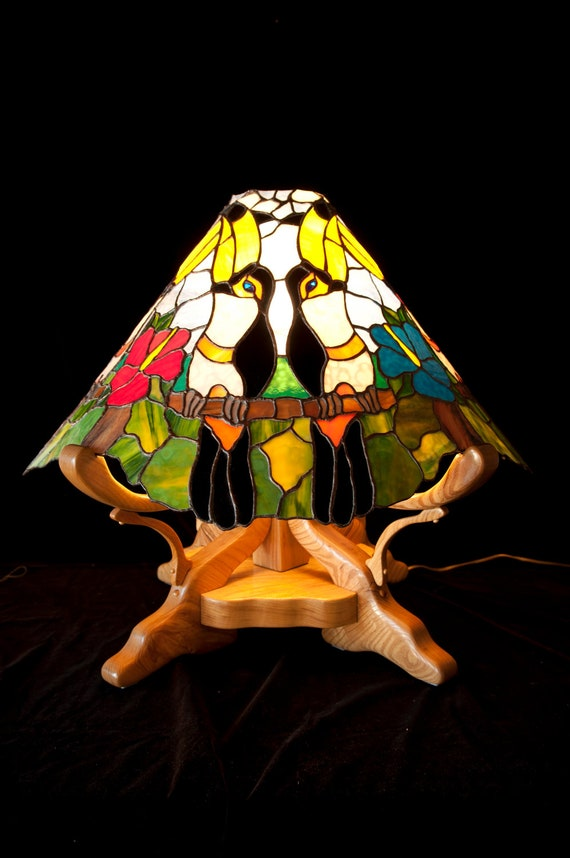 Stained glass Toucan themed lamp, electric dimmer, Ash wood base