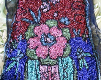 1920's Multi Colored Floral Beaded Trim