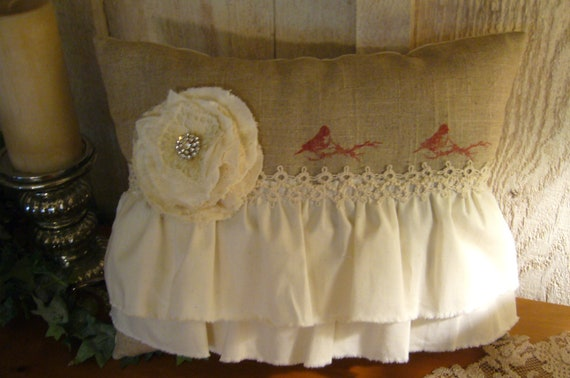 Shabby Chic, Cottage Chic, Linen, Ruffled, Tattered Rosette, Stamped Bird Pillow - ooak