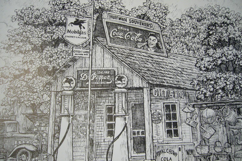 Old Gas Station Drawing Vintage Print o...
