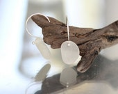 Sea Glass & Sterling Silver Earrings - White - FREE SHIPPING