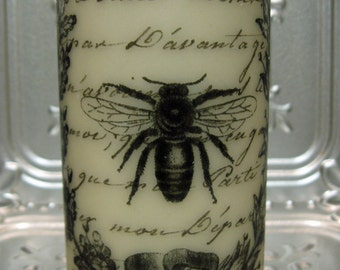 French Script French Bee 6 Inch Pillar Candle - As Featured in Treasury