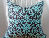 Pillow Cover 20x20in Chocolate and Turquoise Damask Pattern