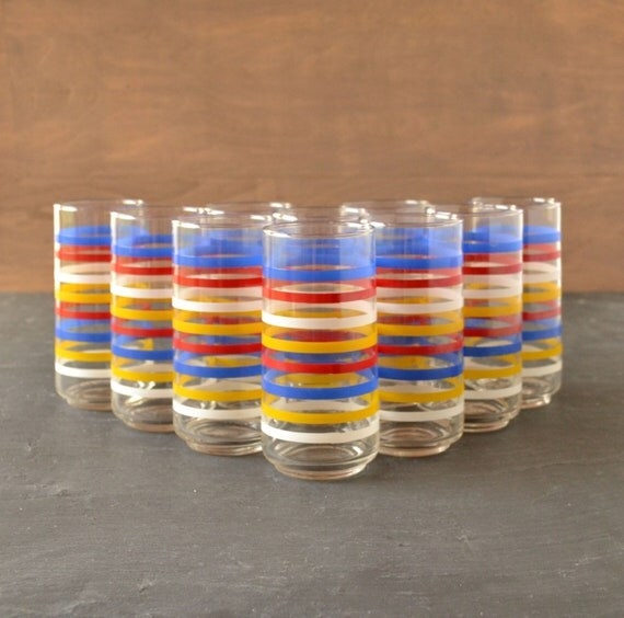 RESERVED Mod Drinking Glass Coolers - Red, Blue, Yellow Striped Bands - Primary Color Glasses Set of 10