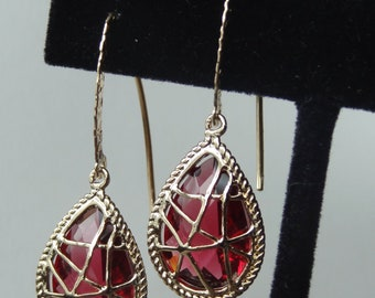 Gold  Pink Ruby  Earrings,  Bridesmaids Gold Earrings