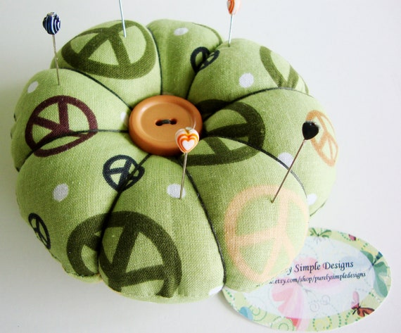 Pincushion -  Peace Sign Pincushion - Round Pin Cushion - Sale Today Only