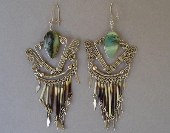 Vintage tribal ethnic silver metal blue green stone long earrings