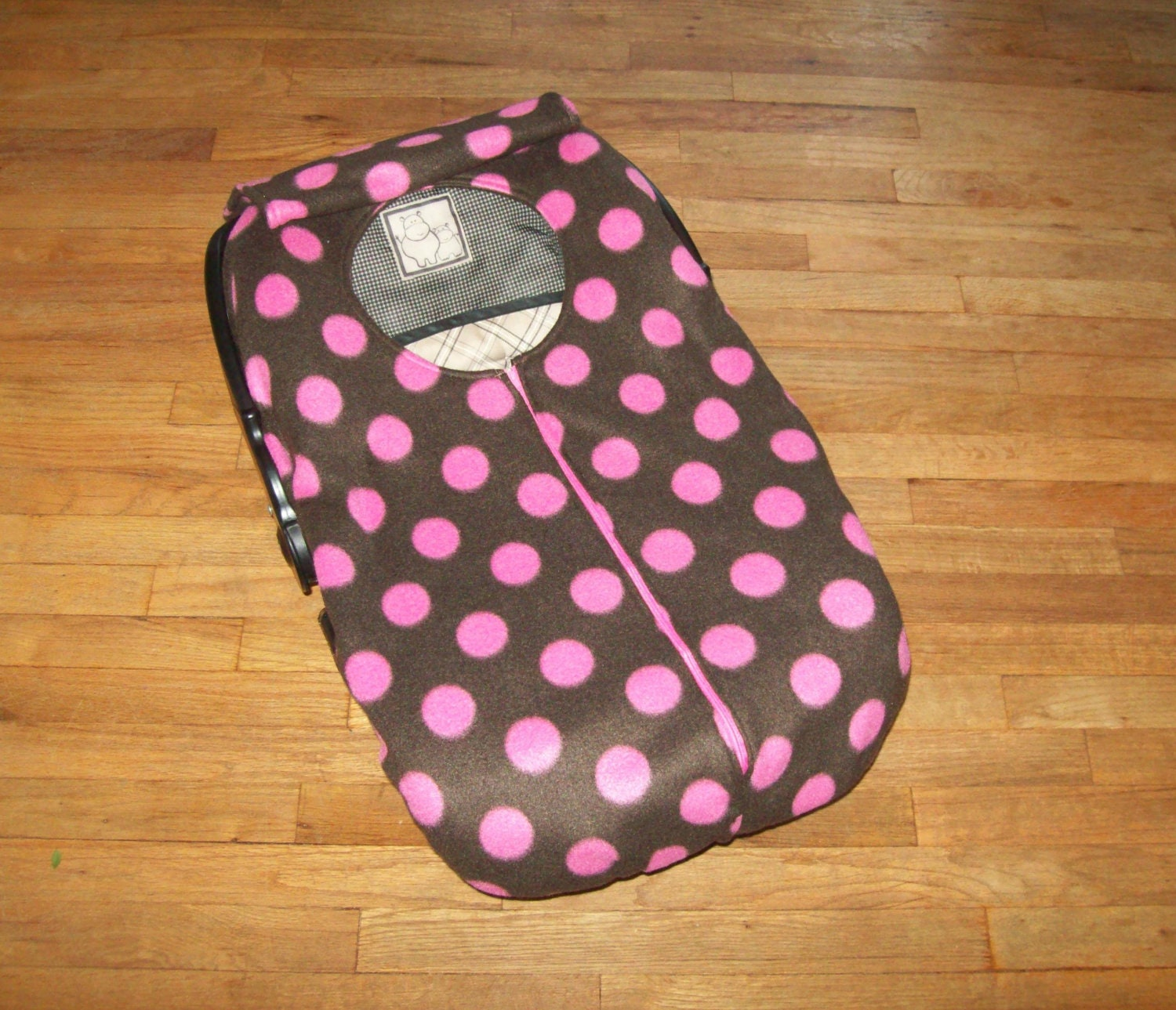 Fleece Infant Car Seat Cover Pink Polka Dots On By