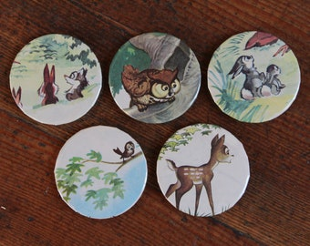 Set of 5 - Handmade Magnets from Vintage Children's Book (Woodland Animals)