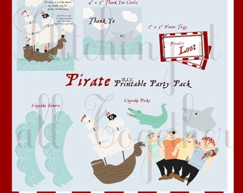 DIY Pirate Themed Printable Birthday Party Package - PDF Invitations, Thank You Cards, Cupcake Toppers, and Cupcake Wrappers