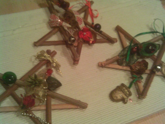 Items Similar To Holiday Sale Custom Wooden Primitive Stars Naturally Decorated Organic