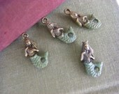 6 Six Hand Painted  Brass Mermaid Charms - green shimmer tails quantity 6