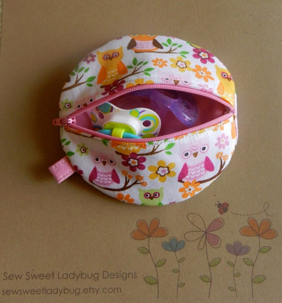 Paci Pod in Sweet Owl Fabric (Pink, Green, Orange and Yellow Owls) Girl Paci Pod Ready to Ship
