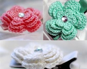 4 Layer Crochet Flower Clip, Set of 3