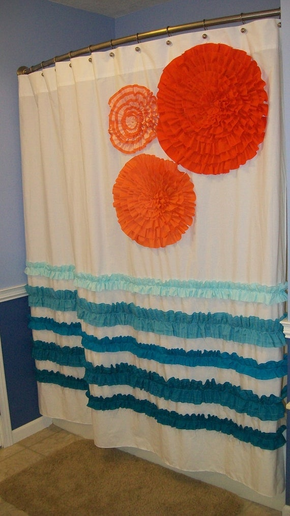 Orange And Aqua: Items Similar To Shower Curtain Custom Made Designer