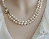Pearl Bridal Necklace, Vintage Necklace,Victorian Bridal Jewelry, Wedding Necklace,Swarovski Crystals Necklace ,Ivory Pearls, Gold Necklace,
