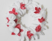 White and Red Felt Wreath Half Off with Coupon