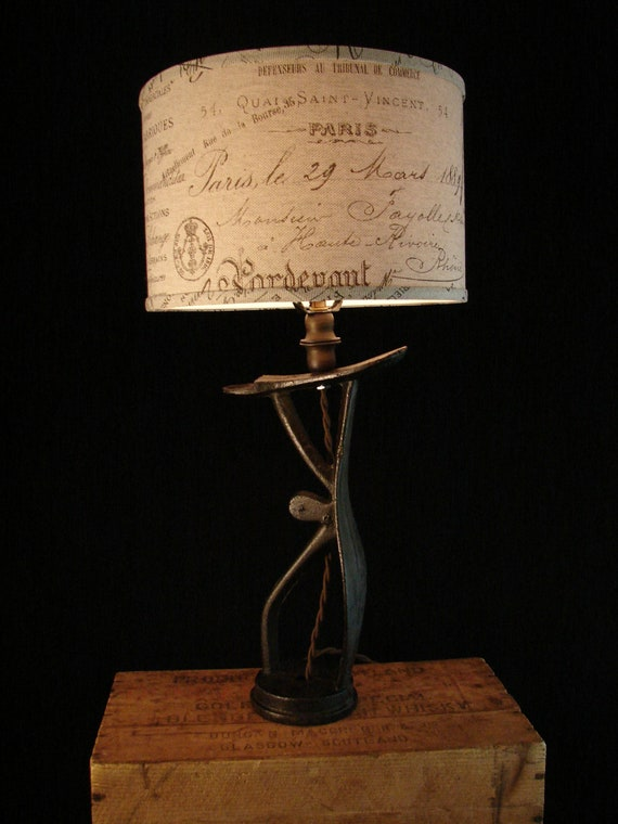 Upcycled Antique Iron Shoe Shine Stand Lamp 2
