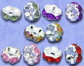 20 Rhinestone Rondelle Spacer Beads Assorted 8x4mm  - Ships IMMEDIATELY  from California - B103
