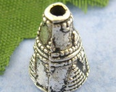 60 End Caps - WHOLESALE - Cones - Antique Silver Beads Tribal Pattern - 11x9mm - Ships IMMEDIATELY  from California - B190a