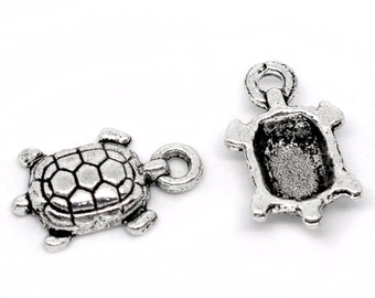 100 Turtle Charms - Antique Silver - Turtle Tortoise - 15x9mm - Ships IMMEDIATELY  from California - SC255a