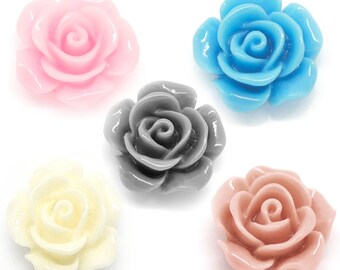 20 Assorted Cabochons - Resin Flower Embellishments - 14x6mm- Ships IMMEDIATELY from California - C45