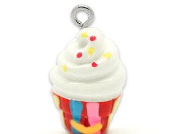 SALE Cup Cake Charms - Multicolor Resin - 8pcs - 22x13mm - Ships IMMEDIATELY  from California - SC294