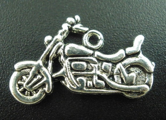 Motorcycle Charms Silver 24x14mm- Ships IMMEDIATELY from California - SC262