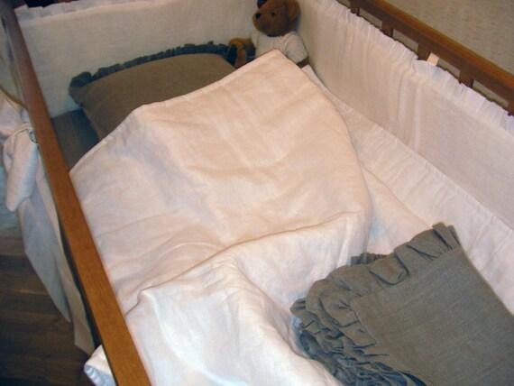Linen baby Crib blanket /quilt /coverlet Toddler size ECO