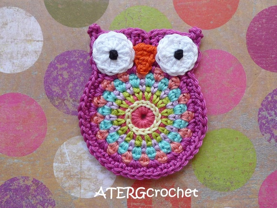 Owl 'big brother' fuchsia crochet application by ATERGcrochet
