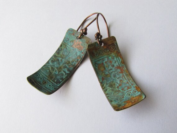 REDUCED   Copper Earrings -:- Rustic Artisan Copper Patina Metalwork