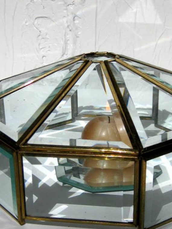 Vintage Brass and Glass Specimen or Candle Cloche Large