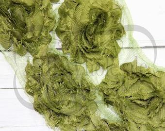 "2 yds - Avocado - 2.5"" Shabby Chiffon Flower Trim"