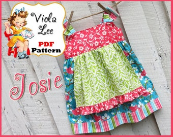 Josie...Girl's Apron Knot Dress Pattern. Girl's Dress Sewing Pattern. Jumper Pattern. Knot Dress.Toddler Dress Pattern.  pdf Sewing Pattern.