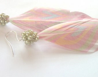 Pastel Hearts, Mint Pearl Cluster and Heart-Printed Feather Earrings
