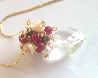 Holiday Wreaths, Pyrite, Pearl and Ruby Jade Cluster Necklace
