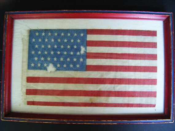 Antique 48 Star American Flag, Framed in a Glass Covered Tray with Handles, Red, White and Blue