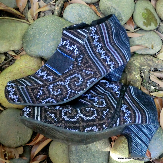 25% Off Clearance Sale- Heeled Vegan Ankle Boot in Hmong Indigo Blue Batik and Earthy Embroidery 9.5