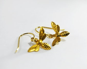 Gold Bee Earrings Metal Dangles