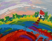 Abstract Landscape - 'Little house on a rainbow hill' - acrylic painting on canvas - size 40cm x 30cm - FREE SHIPPING