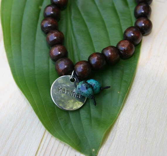 Yogi inspired wood bead bracelet with karma charm and turquoise for men or women