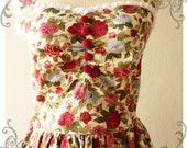 Once Upon A Time Vintage 50's Inspired Party Halter Neck Dress Rose Paradise w/ Little While Lace Dress for Any Occasion -Size S-