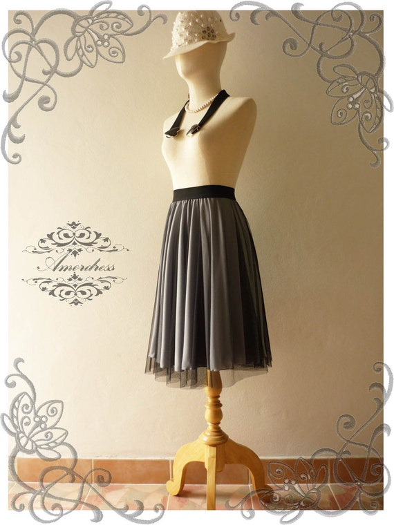 Amor Vintage Inspired  Fairy Tutu Circle Skirt Mix and Match -Gray Sparkle-
