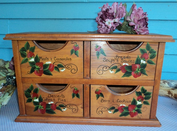 Recipe box vintage with four drawers and strawberry fields forever large size