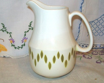 Vintage Ceramic Pitcher, White and Olive Green, Nueva San Isidro