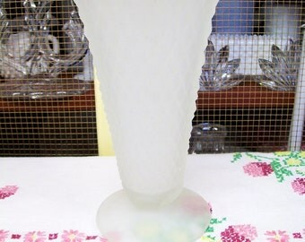 Vintage White Frosted Glass Vase, Indiana Glass Diamond Point