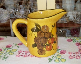 Yellow Ware Pitcher, Fruit Decoration