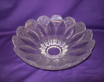 Vintage Large Bubble Glass Bowl, Leaf Pattern, Footed