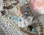 Charlotte Doll, Sara Skipping Rope, Beautiful Charlotte, Lace and Ribbon, Vintage Beads, Rosary Chain, Antique Doll Part, Blonde Blue Doll